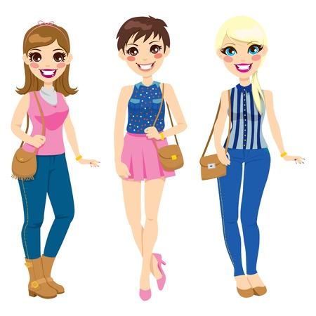 entre filles: Trois jolies filles dans des v�tements � la mode printemps �t� avec des sacs � main marron Illustration