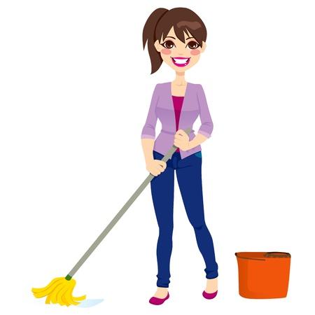 housekeeper: Mujer haciendo las tareas de limpieza del piso con un trapeador y cubeta