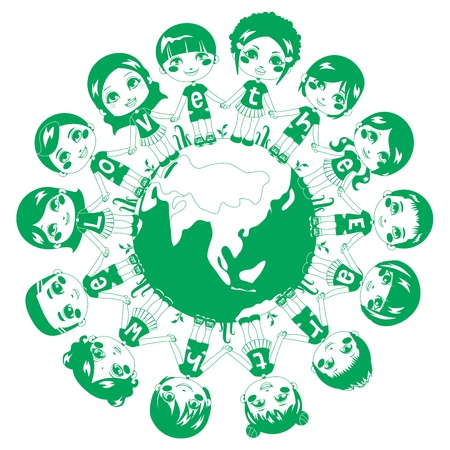 latin american boy: Children holding hands around the world in monochrome green color wearing shirts with the text phrase We love the Earth Illustration