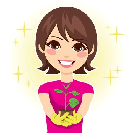 Nette Frau glücklich zeigt grüne Pflanze Sprosswachstum