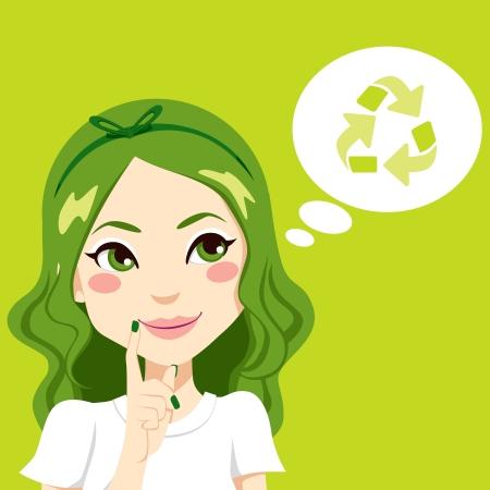 생각에 잠겨있는: 녹색 재활용 아이디어 개념을 생각하는 아름다운 소녀