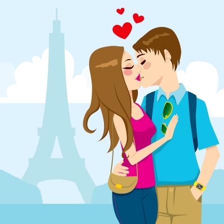 romanticismo: Giovane coppia che si bacia appassionatamente pieno di amore con la Torre Eiffel sullo sfondo di Parigi Vettoriali