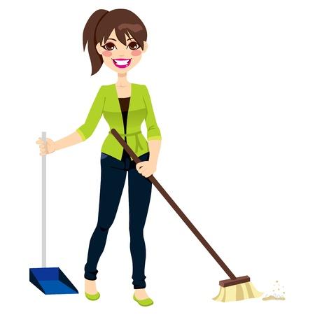 ama de llaves: Mujer haciendo las tareas que barren el piso con escoba y recogedor