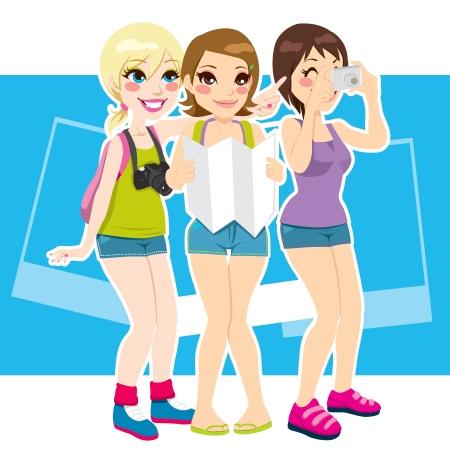 Three beautiful tourist girls happy taking photos and enjoying their vacation destination