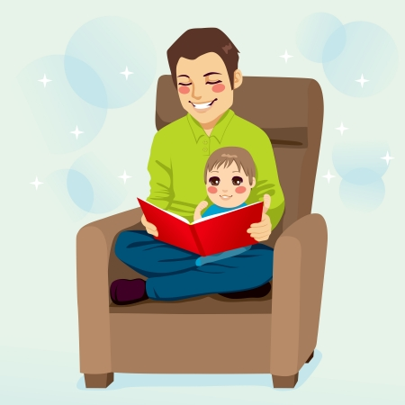 Dad reading a tale to his little son and teaching him read lessons Ilustração