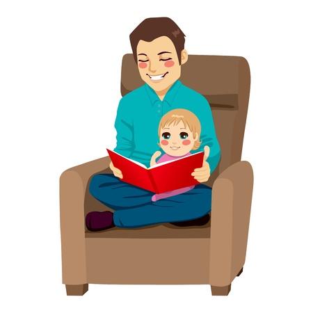 папа: Папа читает сказку в свою маленькую дочь и учит ее уроков чтения