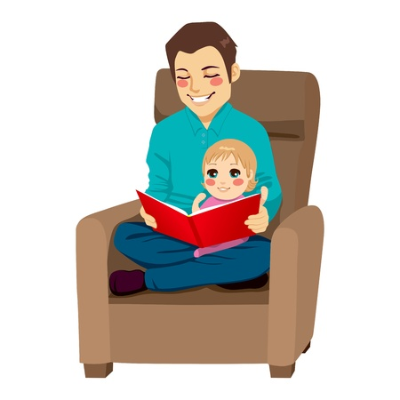 Dad reading a tale to his little daughter and teaching her read lessons