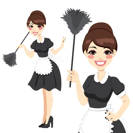 duster: Beautiful housewife in classic maid dress costume holding a feather duster isolated on white background
