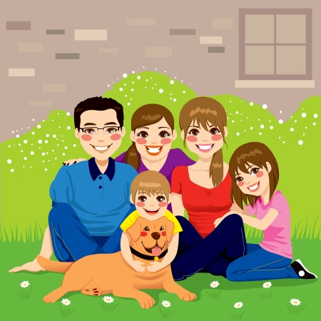 family: Sweet happy family posing together sitting in the backyard with their golden retriever dog