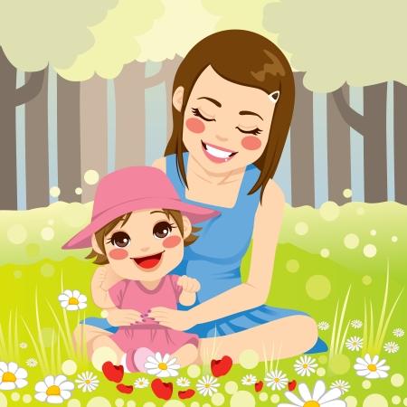 公園の愛らしい小さな娘と自然を楽しんで美しいシングルマザー