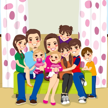 sibling: Large family of mother and father with seven children happy posing smiling together sitting on a sofa