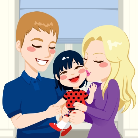Young married couple hugging and kissing their beautiful adopted asian little daughter Vector