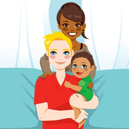 Happy interracial family of white husband and black wife with their mixed race child Vector