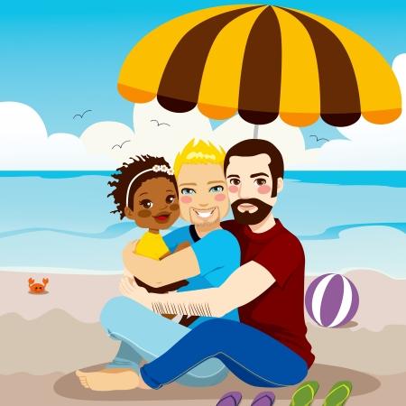 hombres gays: Familia feliz pareja gay que disfruta de un día en la playa con su bebé adoptado negro Vectores