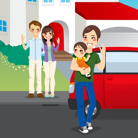car garden: Young father picking up his son in shared custody after amicable divorce from his former wife and her new husband home