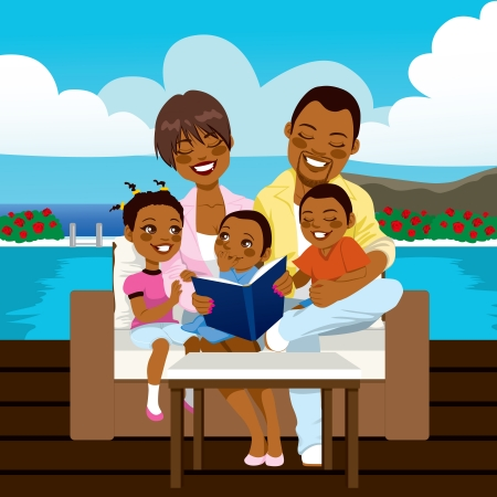 cartoon reading: Happy African American family reading a book or looking a photo album sitting on outdoor sofa at the pool side