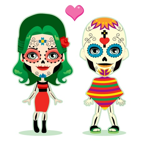 mexican: Undead couple in love celebrating the mexican dia de los muertos in traditional costume Illustration