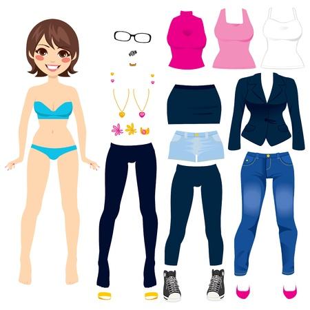 pantalones cortos: Morena mujer linda colección pelo corto muñeca de papel juego determinado de la ropa Vectores
