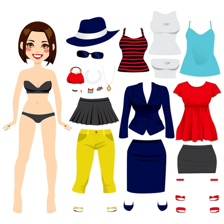 young girl underwear: Cute short hair brunette girl paper doll game fashion clothing set collection