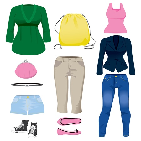 capri pants: Collection set of various fashion clothing and accessories for women Illustration