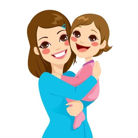 Mooie jonge moeder bedrijf en knuffelen haar schattige dochtertje lachen