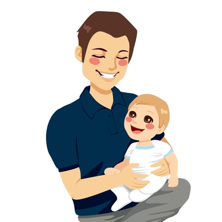 Handsome young father holding his sweet little son on his lap Ilustração