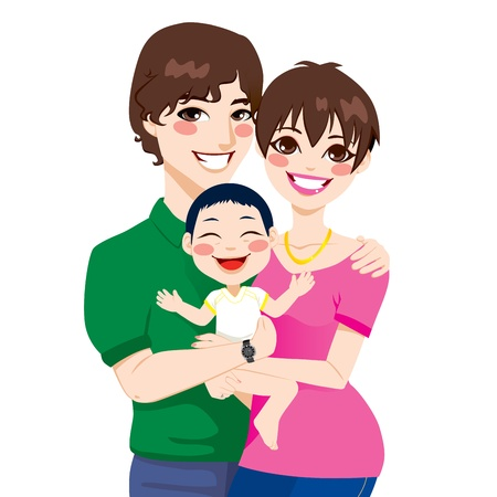 Lovely young married couple hugging little adopted asian child Vector