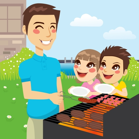 dad daughter: Father grilling meat and hungry children holding empty dishes wanting to eat together in family barbecue party