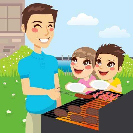 Padre asar la carne y los niños hambrientos que sostienen platos vacíos que quieren comer juntos en la fiesta de barbacoa familiar