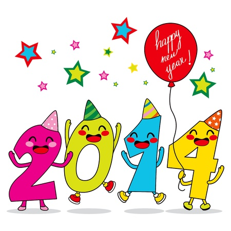 Year 2014 cartoon number characters celebrating happy new year party Vector