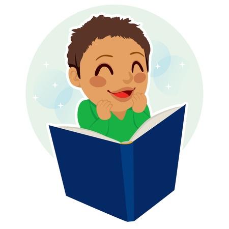 mixed race children: Multiethnic mixed race little boy happy enjoying reading a book Illustration