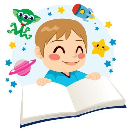 science fiction: Schattige kleine jongen gelukkig lezen van een science fiction verkenning van de ruimte avonturen boek Stock Illustratie