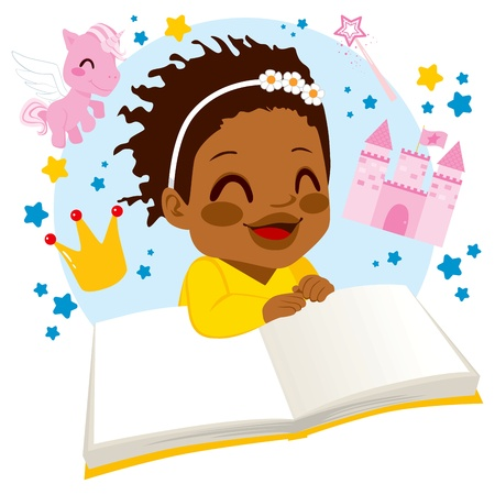 Little African American girl enjoying reading a fairy tale book Vector