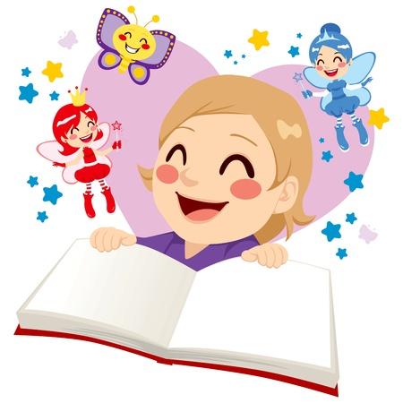 fairy story: Cute little girl having fun reading a fairy tale fantasy book