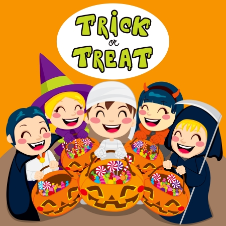 Five kids saying trick or treat with Halloween pumpkin bags full of sweets and candy Vector