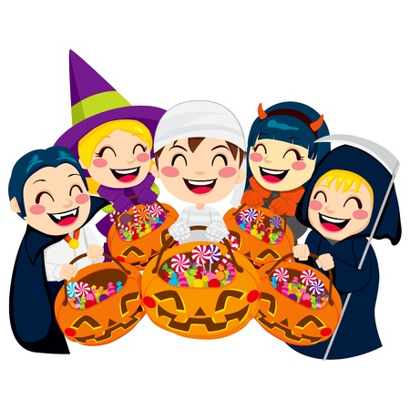 children group: Five kids doing Halloween Trick or Treat holding pumpkin bags full of candy isolated on white background