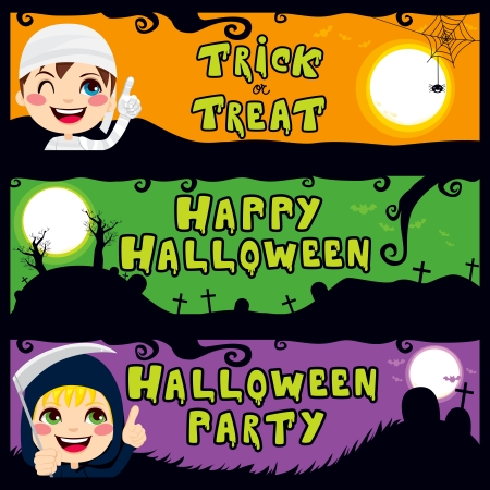 Three Halloween children banners with text Trick or Treat, Happy Halloween and Halloween Party Vector