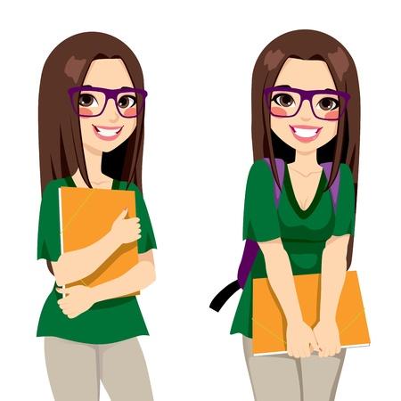 학교에 갈 오렌지 폴더 준비 들고 살아남 스타일의 안경 귀여운 십 대 소녀 학생 일러스트