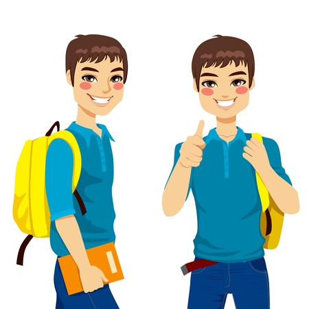 school backpack: Cool teenage student making thumbs up hand sign ready to go back to school Illustration