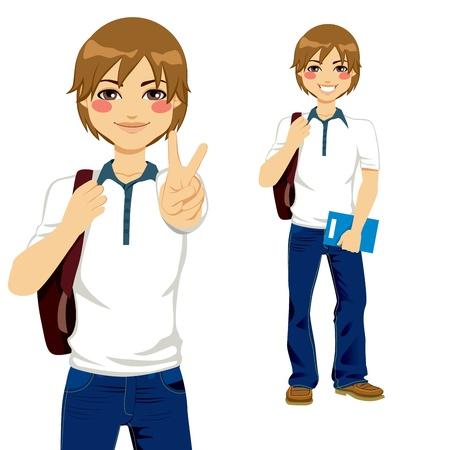 Gut aussehend Student Jungen machen Victory-Zeichen bereit, wieder zur Schule gehen Standard-Bild - 21888766