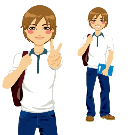 boys happy: Handsome student boy making victory sign ready to go back to school