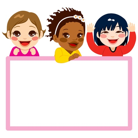 asian friends: Three baby girls of different ethnicities with a pink frame white billboard Illustration