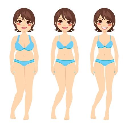 масса: Красивая брюнетка женщина до и после диеты Иллюстрация