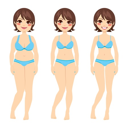 Belle femme brune avant et après régime Vecteurs