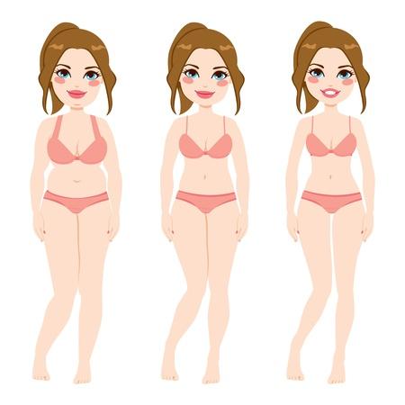 slim women: Antes y despu�s de una dieta de una mujer bonita casta�o Vectores