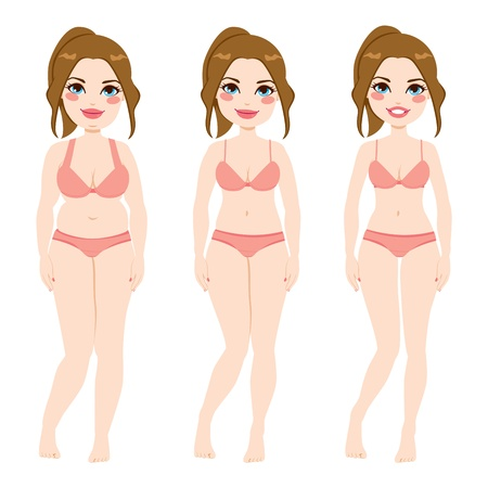 slim women: Before and after a diet of a pretty auburn woman