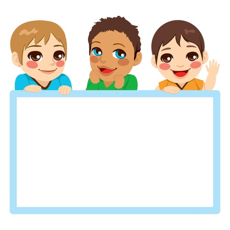 multi ethnic: Three baby boys of different ethnicities with a blue frame white billboard