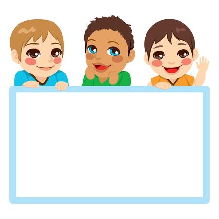 Tres bebés de diferentes etnias con un marco azul blanco cartelera