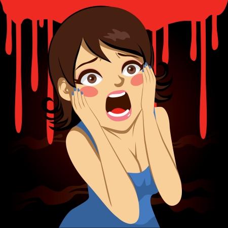 할로윈 파티 휴일에 피 묻은 배경 위에 비명 예쁜 여자의 그림