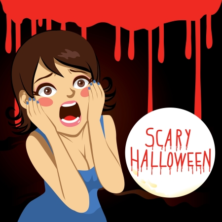 woman shock: Terrified woman screaming over bloody background with the text Scary Halloween on a full moon